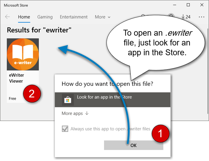 How to open an .ewriter file on Windows