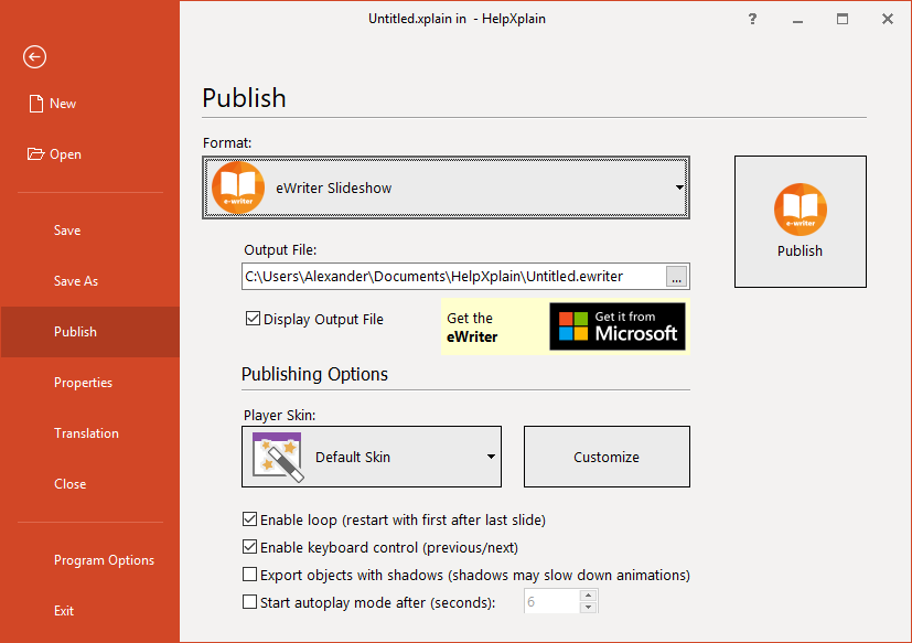 eWriter Export in HelpXplain