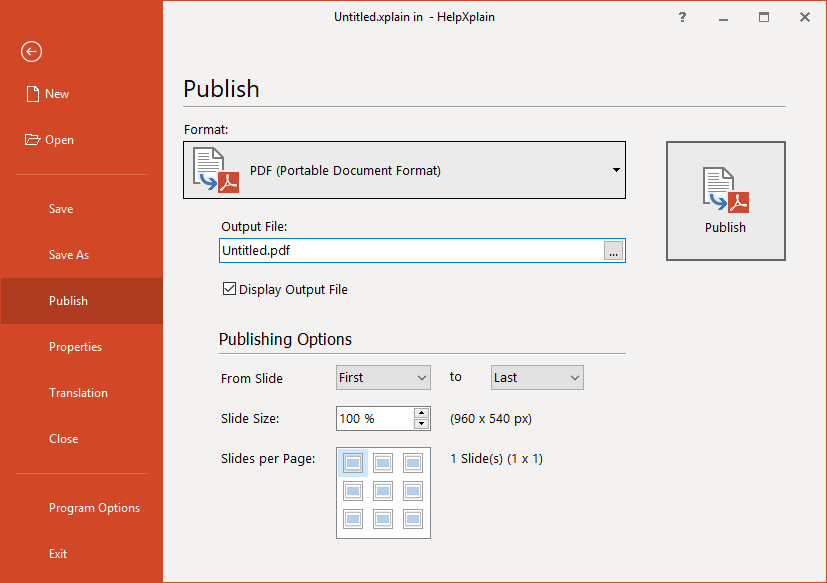 New PDF Options in HelpXplain