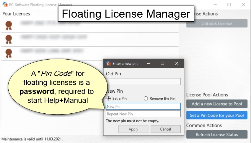 Help+Manual Floating License Manager