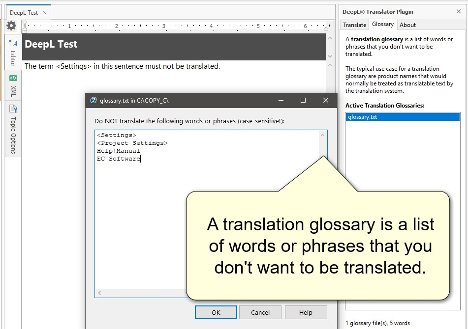 DeepL Translation Glossary