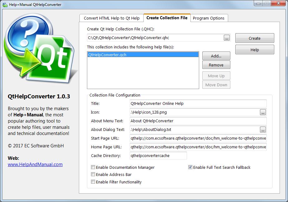 Qt Help Converter, a free converter application to create Qt