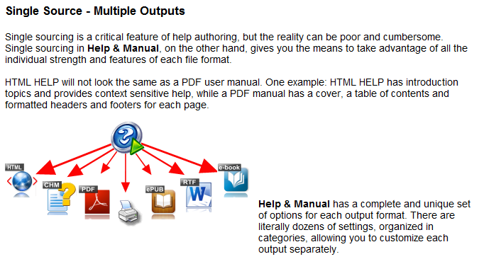 Help+Manual version comparison matrix