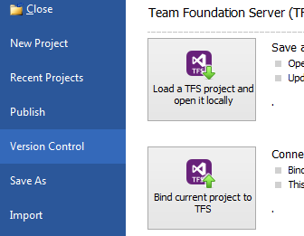 Built-in support for Microsoft Team Foundation Server