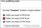 Publishing tasks combine multiple outputs into one comfortable task