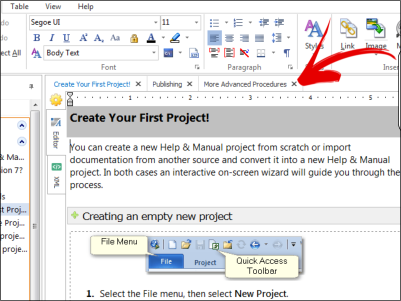 Help & Manual can open multiple topics in separate tabs, edit topic text and page properties side by side
