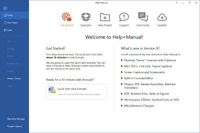Help+Manual start screen, user assistance