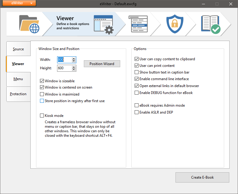 eWriter is a popular free HTML-to-EXE converter with compact
